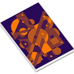Blue and orange abstract design Large Memo Pads