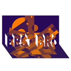Blue and orange abstract design BEST BRO 3D Greeting Card (8x4)