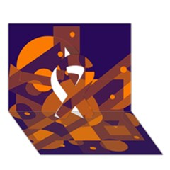 Blue and orange abstract design Ribbon 3D Greeting Card (7x5)