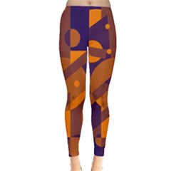 Blue and orange abstract design Leggings