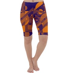 Blue and orange abstract design Cropped Leggings