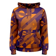 Blue and orange abstract design Women s Pullover Hoodie