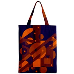 Blue and orange abstract design Zipper Classic Tote Bag