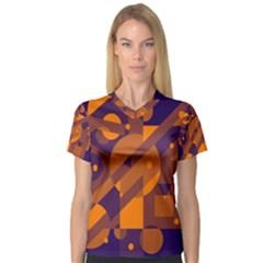 Blue and orange abstract design Women s V-Neck Sport Mesh Tee