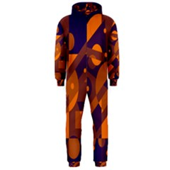 Blue and orange abstract design Hooded Jumpsuit (Men)