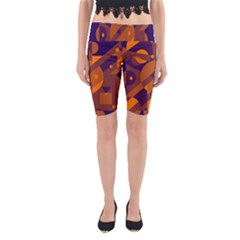 Blue And Orange Abstract Design Yoga Cropped Leggings