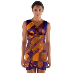 Blue and orange abstract design Wrap Front Bodycon Dress