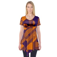 Blue and orange abstract design Short Sleeve Tunic