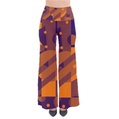 Blue and orange abstract design Pants
