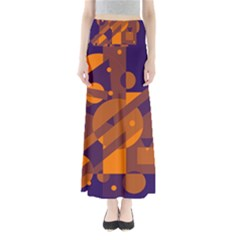 Blue and orange abstract design Maxi Skirts