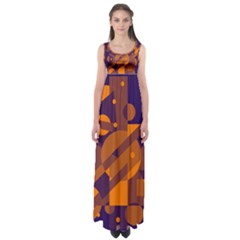 Blue And Orange Abstract Design Empire Waist Maxi Dress