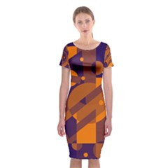 Blue and orange abstract design Classic Short Sleeve Midi Dress