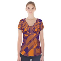 Blue And Orange Abstract Design Short Sleeve Front Detail Top