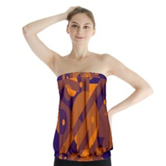 Blue and orange abstract design Strapless Top