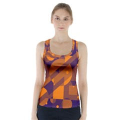 Blue and orange abstract design Racer Back Sports Top