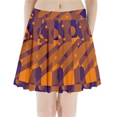 Blue and orange abstract design Pleated Mini Mesh Skirt