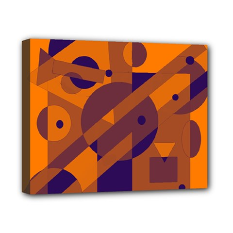 Orange and blue abstract design Canvas 10  x 8