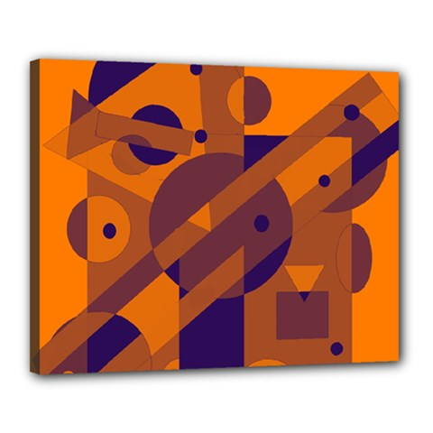 Orange and blue abstract design Canvas 20  x 16