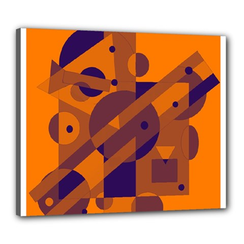 Orange and blue abstract design Canvas 24  x 20