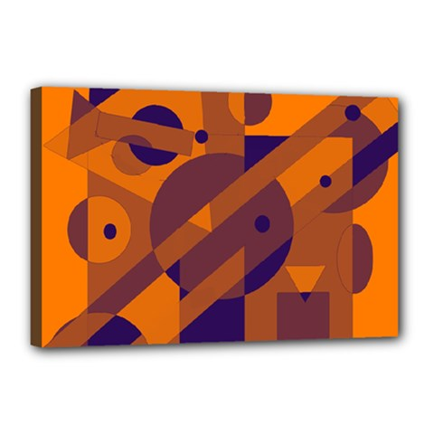 Orange and blue abstract design Canvas 18  x 12