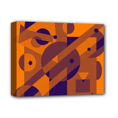 Orange and blue abstract design Deluxe Canvas 14  x 11