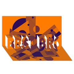 Orange and blue abstract design BEST BRO 3D Greeting Card (8x4)