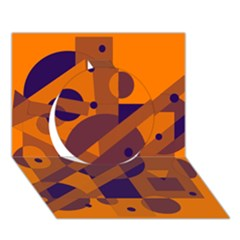 Orange and blue abstract design Circle 3D Greeting Card (7x5)