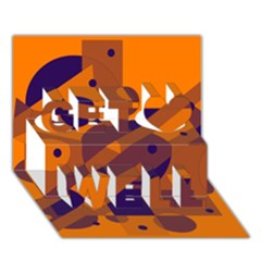 Orange and blue abstract design Get Well 3D Greeting Card (7x5)