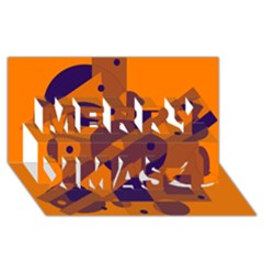 Orange and blue abstract design Merry Xmas 3D Greeting Card (8x4)