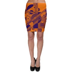 Orange and blue abstract design Bodycon Skirt