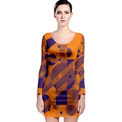 Orange and blue abstract design Long Sleeve Bodycon Dress