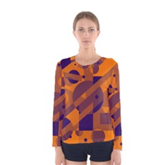 Orange and blue abstract design Women s Long Sleeve Tee