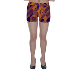 Orange and blue abstract design Skinny Shorts