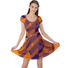 Orange and blue abstract design Cap Sleeve Dresses