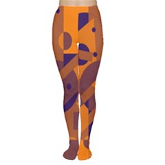Orange and blue abstract design Women s Tights