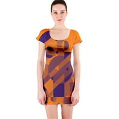 Orange and blue abstract design Short Sleeve Bodycon Dress