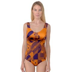 Orange and blue abstract design Princess Tank Leotard