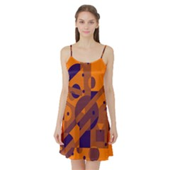 Orange and blue abstract design Satin Night Slip