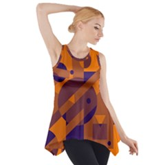 Orange and blue abstract design Side Drop Tank Tunic