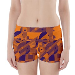 Orange and blue abstract design Boyleg Bikini Wrap Bottoms