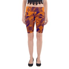 Orange and blue abstract design Yoga Cropped Leggings