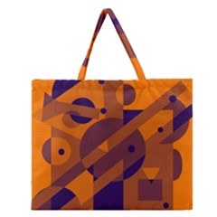 Orange And Blue Abstract Design Zipper Large Tote Bag