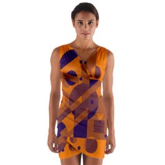 Orange and blue abstract design Wrap Front Bodycon Dress