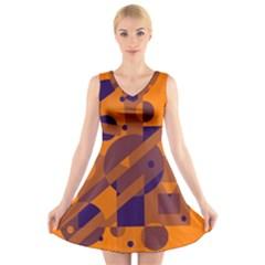 Orange and blue abstract design V-Neck Sleeveless Skater Dress