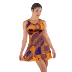 Orange and blue abstract design Racerback Dresses