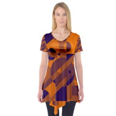 Orange and blue abstract design Short Sleeve Tunic
