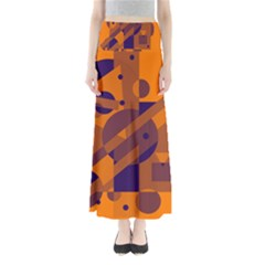 Orange and blue abstract design Maxi Skirts