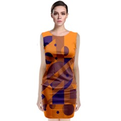 Orange and blue abstract design Classic Sleeveless Midi Dress
