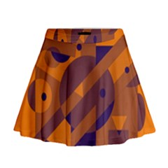 Orange and blue abstract design Mini Flare Skirt