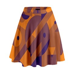 Orange and blue abstract design High Waist Skirt